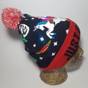 e20cd173fbae2 unbranded Accessories - Light Up Christmas Beanie Santa Riding a Unicorn